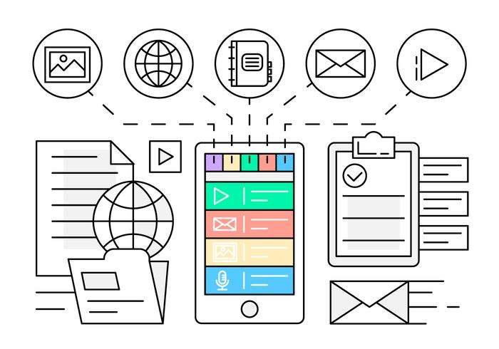 Linear Mobile Application Illustration