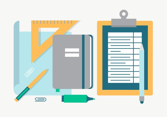 Free Flat Design Vector Back to School Essentials