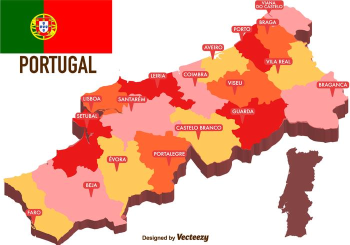 Vector Portugal Map With Regions Download Free Vector Art Stock - Portugal map braga