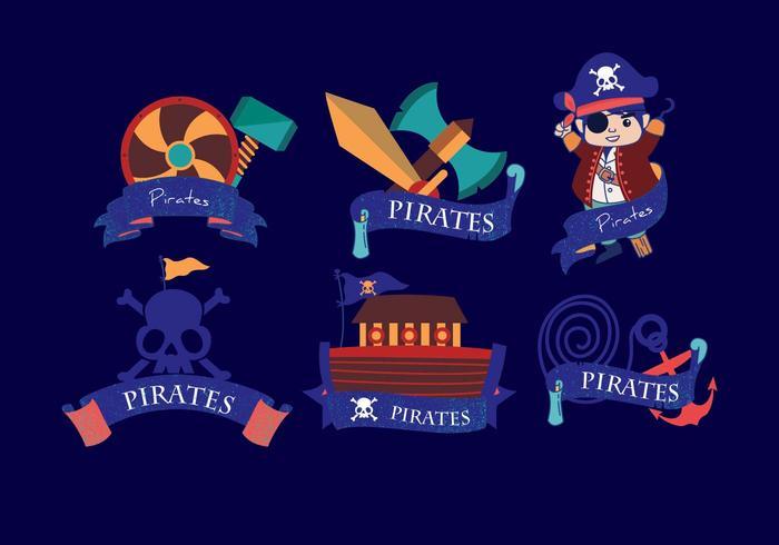 Pirate Banner Dark Blue Vector