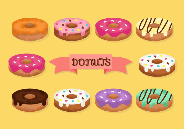 Vetores de donuts fofos grátis