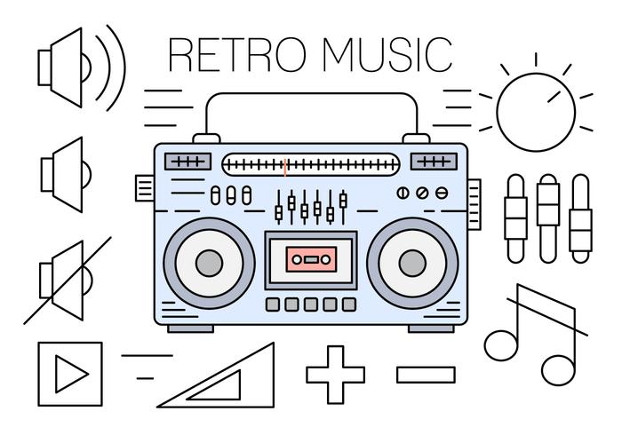 Linear Retro Music Icons