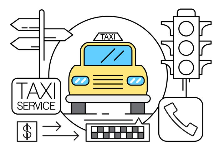 Linear Taxi Icons