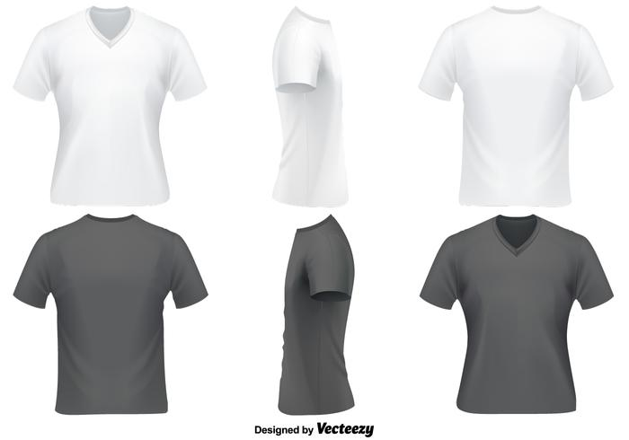 Vector Set Of V Neck T Shirts Template - Download Free Vector Art