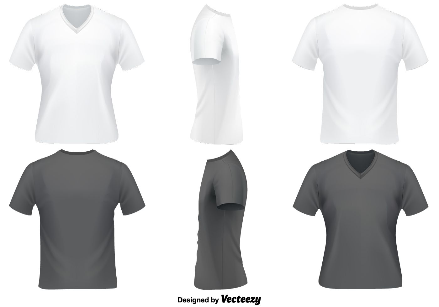 Vector Set V-Ausschnitt T-Shirt Vorlage - Kostenlose Vektor-Kunst ...