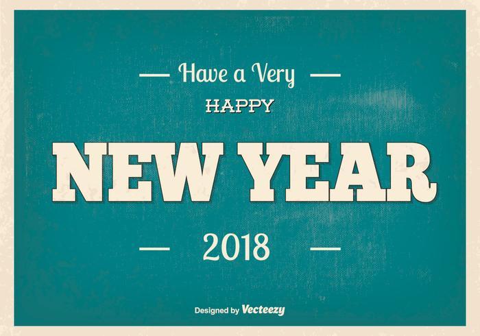 Retro New Year 2018 Illustration