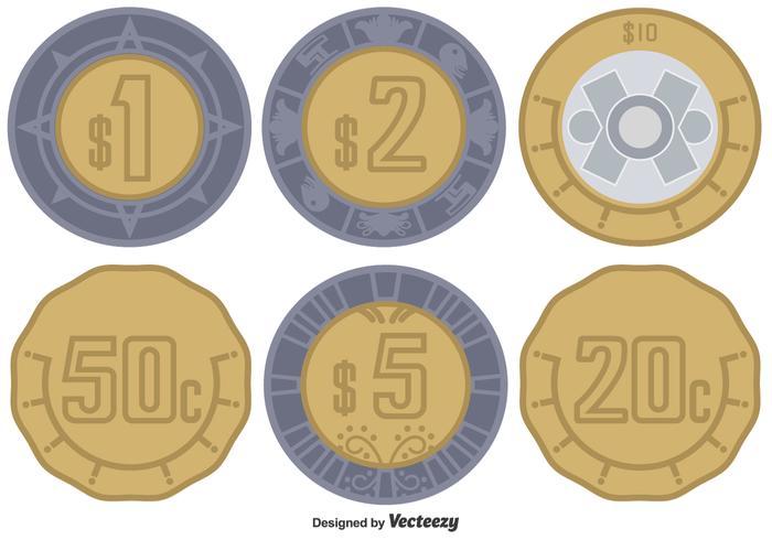 Vector Mexican Peso Coins Set Download Free Vector Art Stock