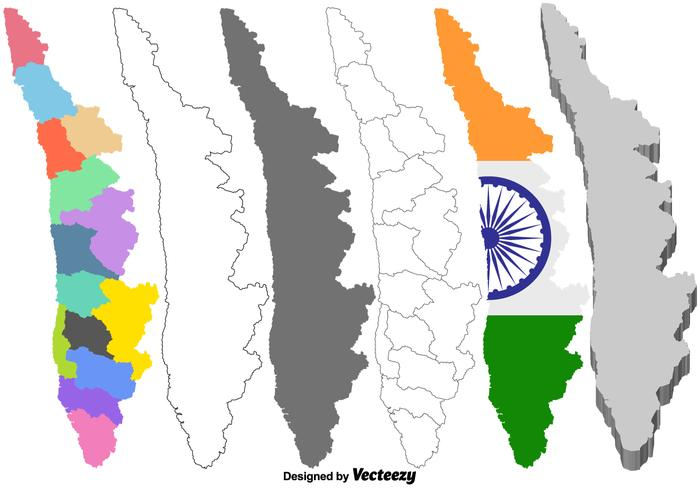 Vector Kerala India Map Set