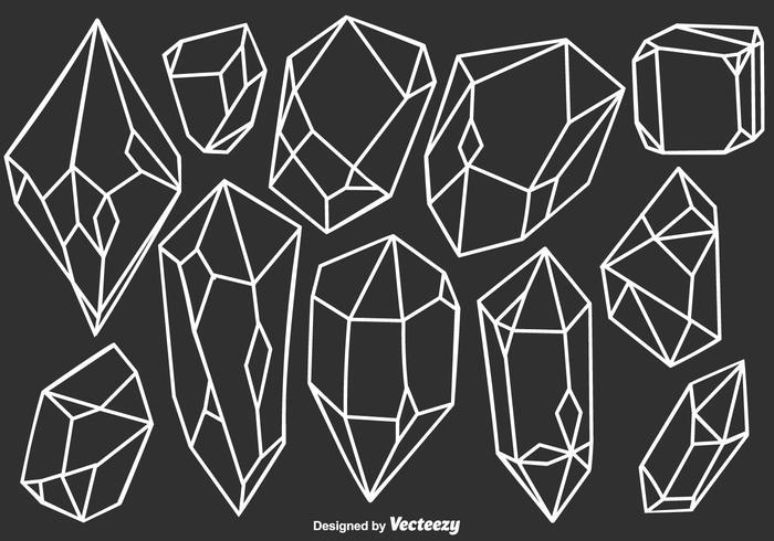 Vector Quartz Crystals Set