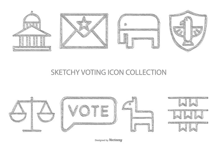 Sketchy Style Voting Icon Collection