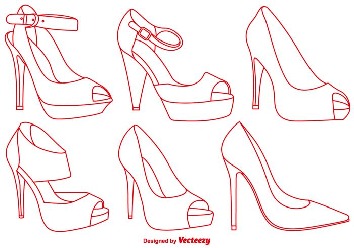 Vector Elegant Red Slippers Line Icons Set