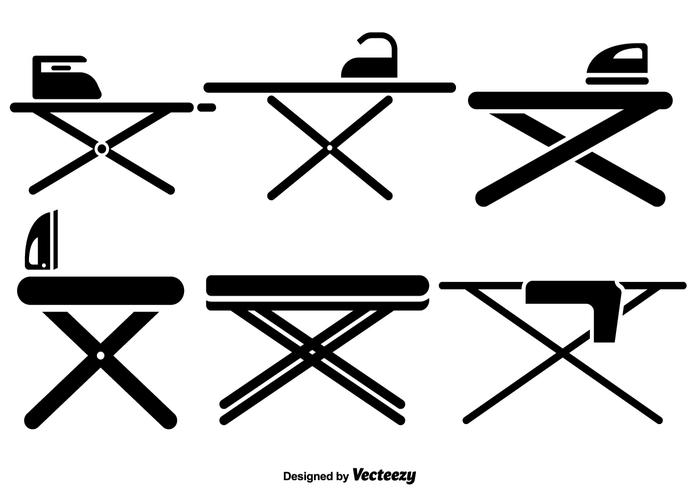 Vector Ironing Table Flat Icons