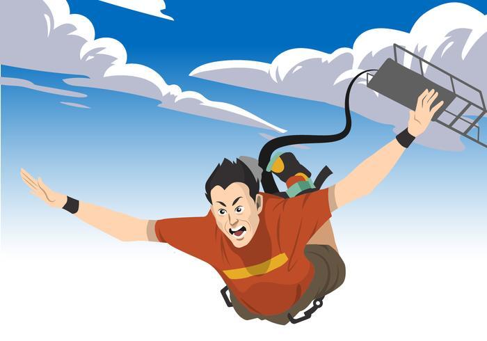 Man Bungee Jumping Vector Illustration