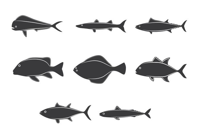 Line Art Of Fish : Lineart ocean fish collection drawn download free vector art