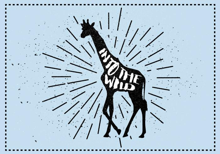 Free Vector Giraffe Silhouette Illustration With Typography