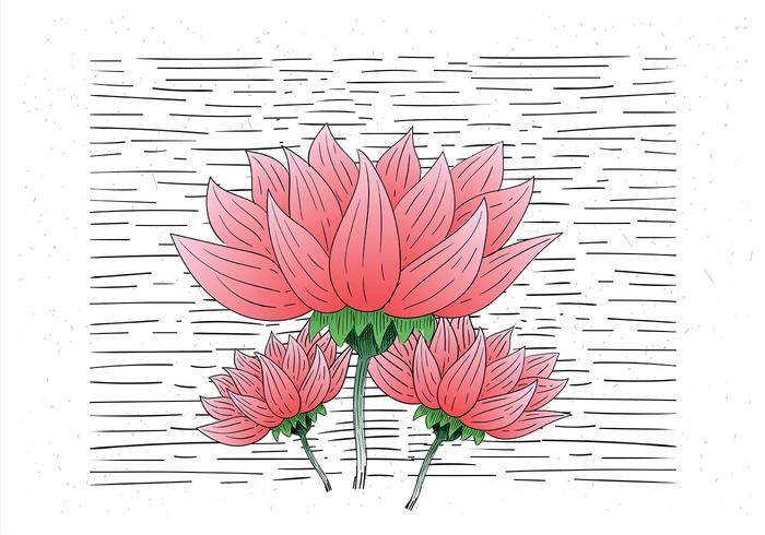 Free Hand Drawn Vector Flower Illustration