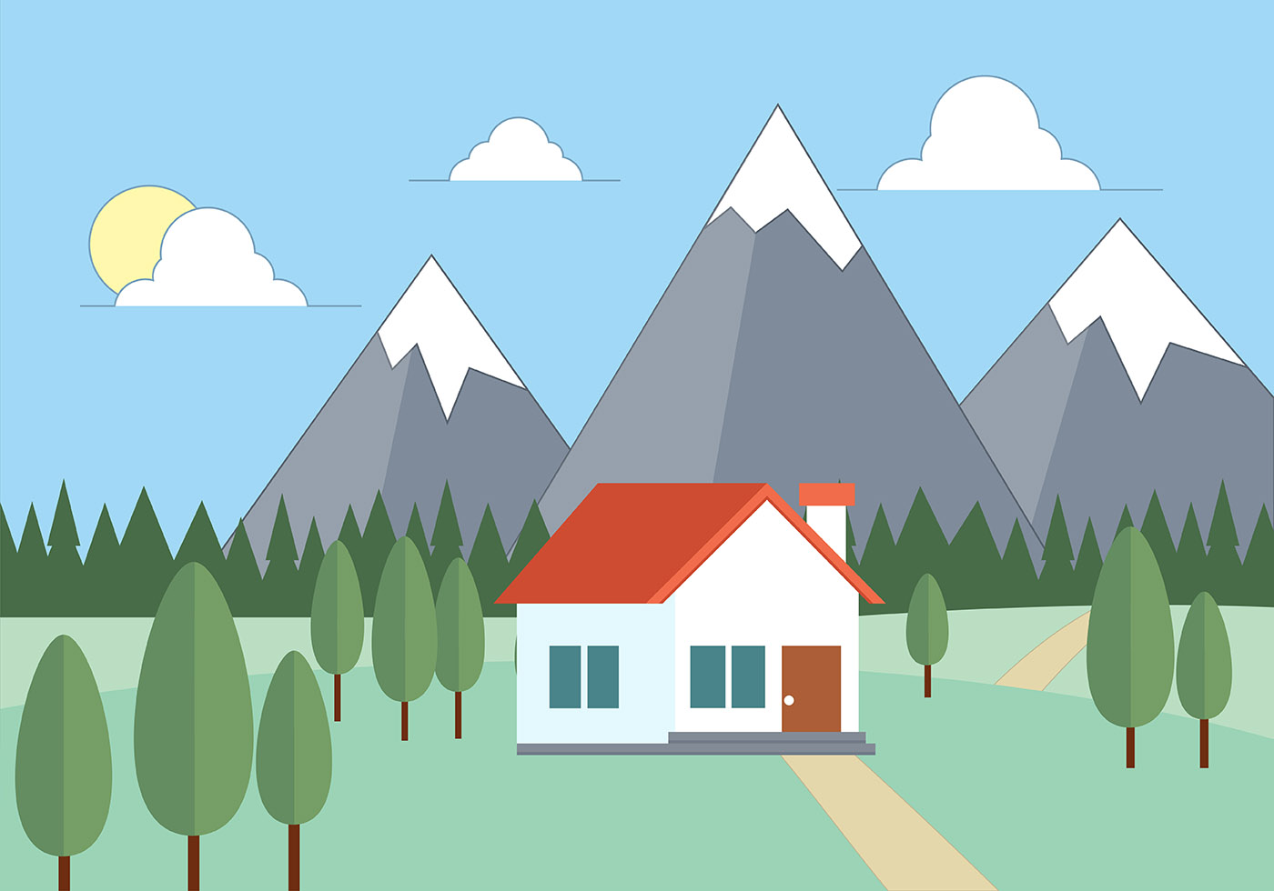 Landscape Illustration Vector Free: Free Flat Vector Landscape Illustration