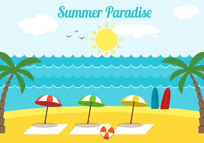 Free Flat Design Vector Summer Paradise Illustration