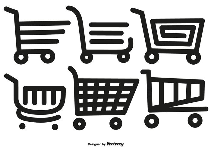 Vector Hand Drawn Line Style Supermarket Cat Icons