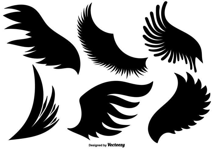 Vektor Set Of Cartoon Angel Wings