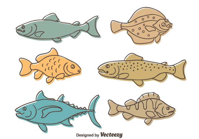 Sketch Fish Collection Vector