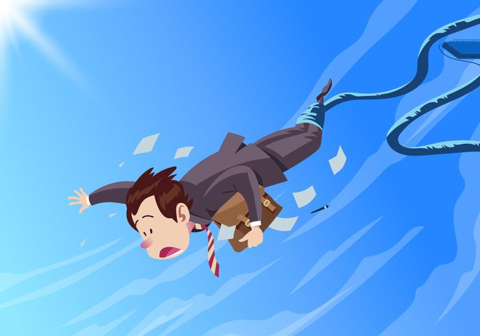 Business Man Doing A Bungee Jump Vector