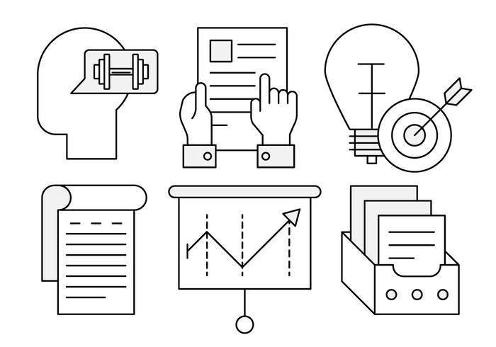 Linear Business Growth Icons