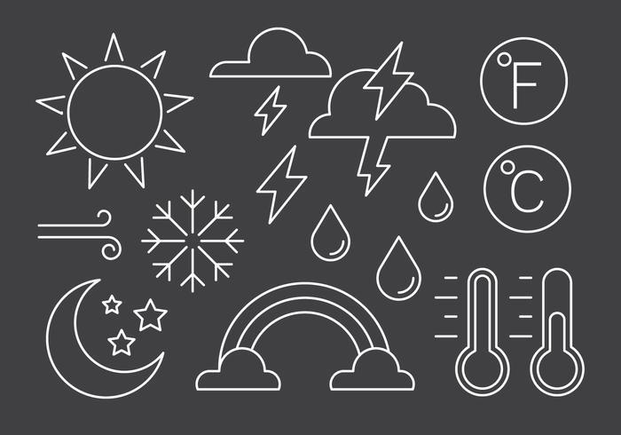 Symboles météorologiques linéaires gratuits