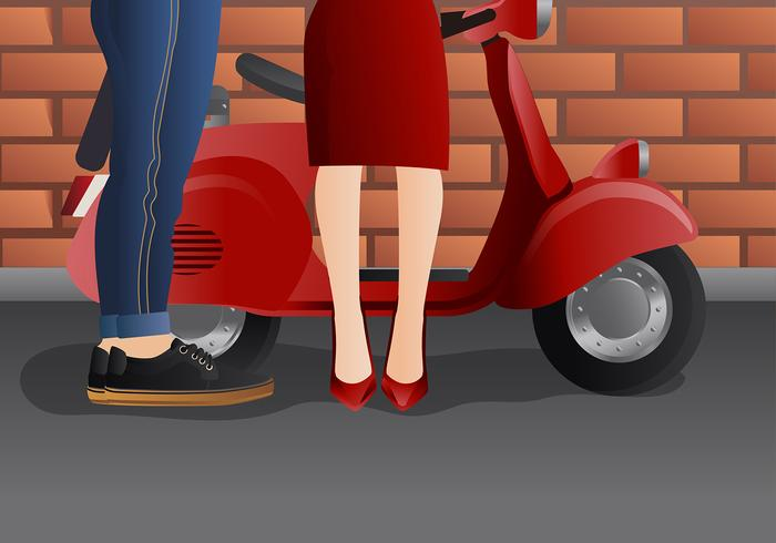 Couple Dressed Up on Scooter Vector
