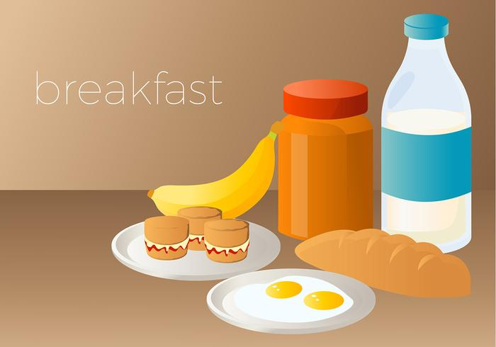 Scone and Egg Breakfast Vector
