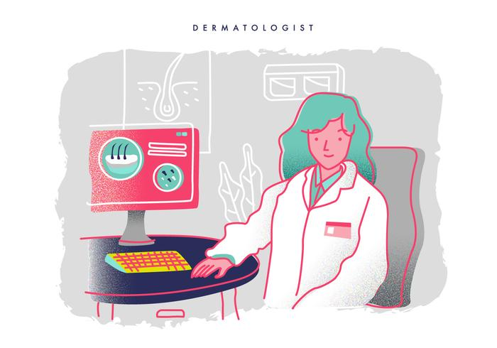 Dermatólogo Consultoría En La Oficina De Ilustración Vectorial vector