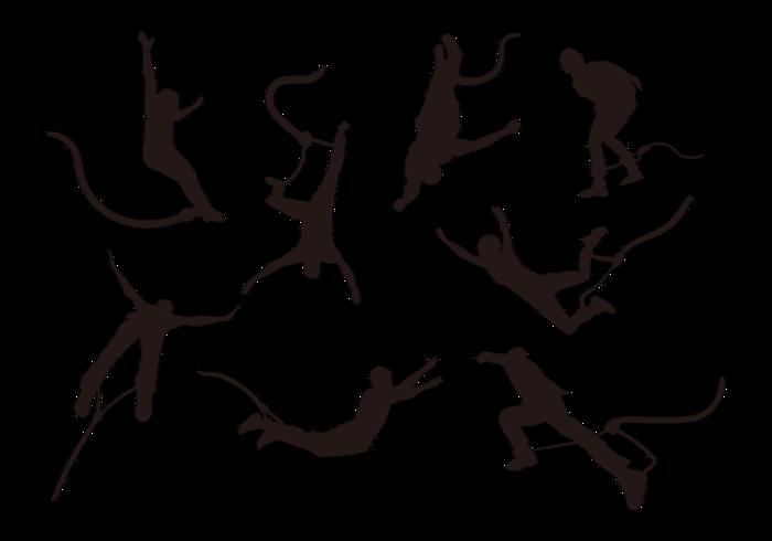 Vetor de silhuetas de salto com mola
