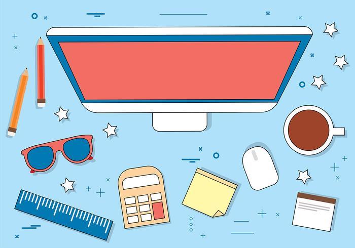 Free Flat Vector Desktop Illustration