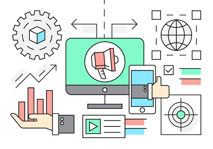 Linear Marketing and Startup Icons