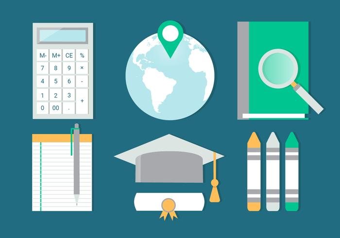 Free Flat Design Vector Back to School Elements