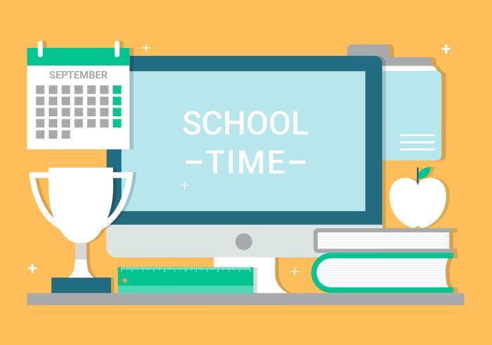 Gratis Flat Design Vector School Tijd
