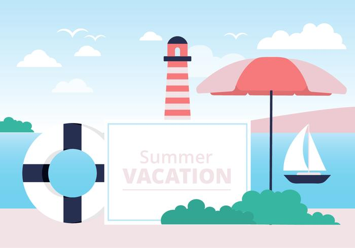 Free Colorful Summer Beach Vector Background