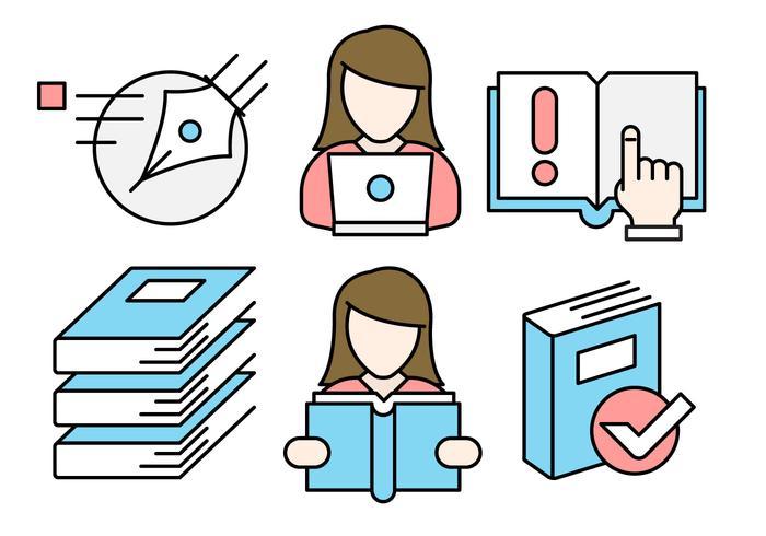 Iconos vectoriales de educación lineal