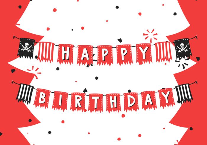 Birthday Pirate Banner Free Vector Illustration