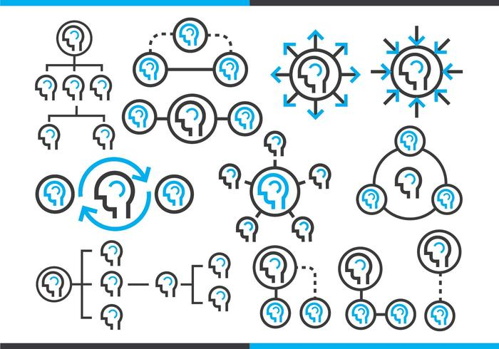 Org Chart Outline Pack Vector