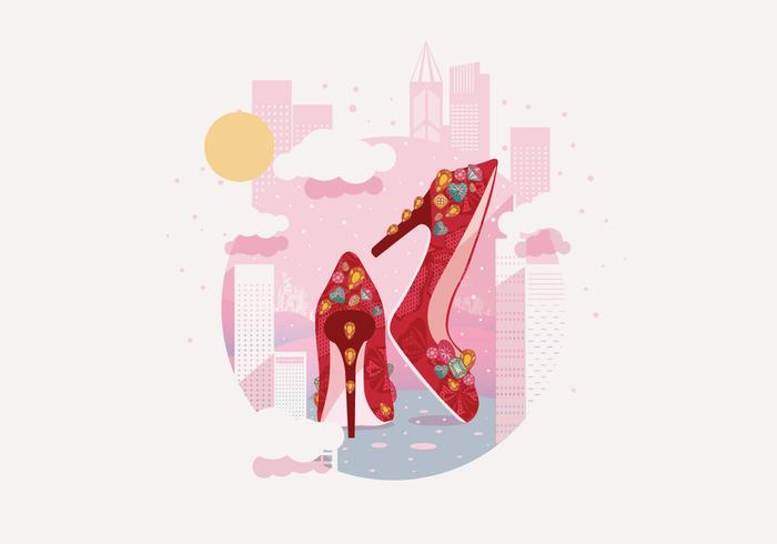 Gem Studded Luxurious Ruby Slippers Vector