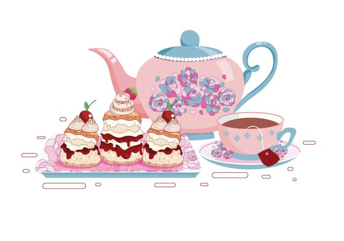 Set of Tea Cups and Scone Vectors