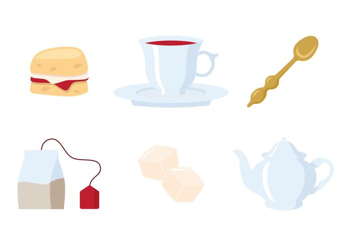 Colorful Tea Time Icon Vectors