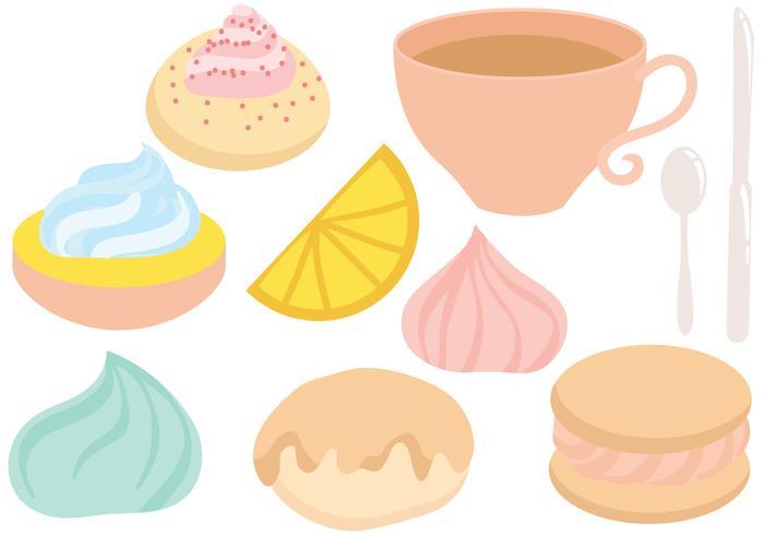 Vecteurs gratuits de thé et de biscuits