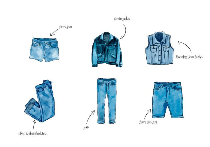 Watercolor Blue Jean Clothes Collection Isolated