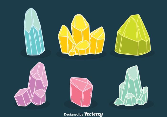 Hand Drawn Colorful Quartz Vectors