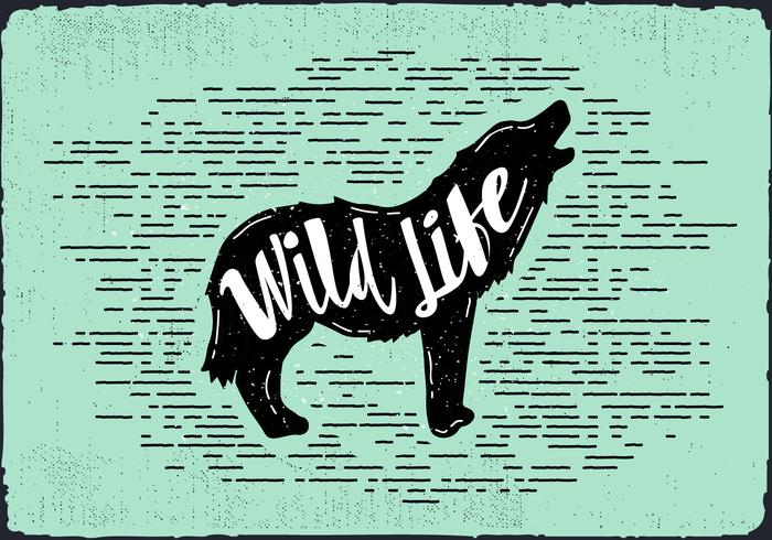 Vector Wolf Silhouette Illustration With Typography