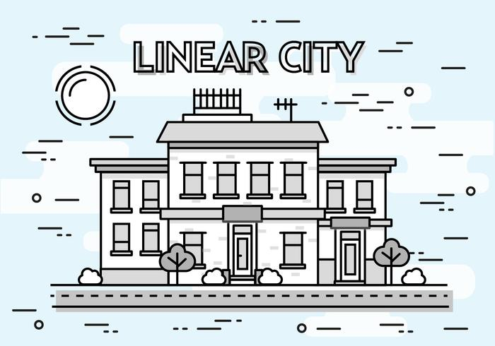Free Linear Cityscape Vector Background