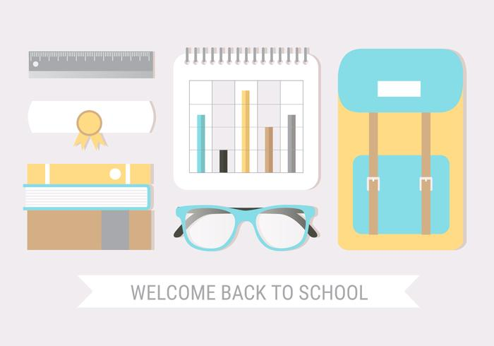 Free Flat Design Vector Back to School Greeting Card