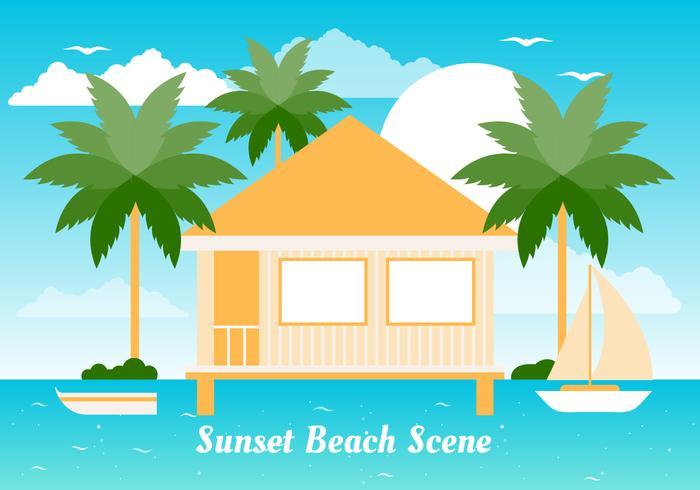 Free Flat Summer Beach Vector Background